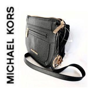 NWT authentic MK genuine leather crossbody black